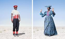 namibia_traditionalclothing_hererocadetcardboardhat_hererowomanbluedress