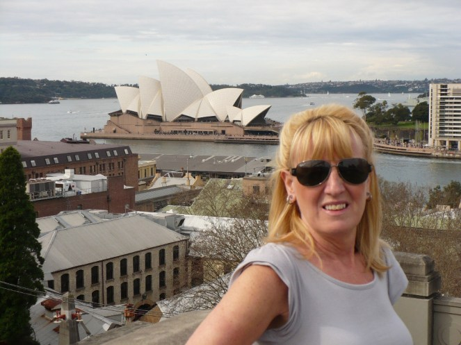 Gail and the Opera House from the Harbour Bridge