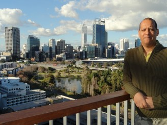 At the lookout overlooking Perth CBD.