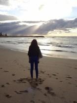 Ciara on the beach at Mandurah (Moody picture!)