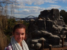 Ciara at goat mountain with the harbour bridge in the background.