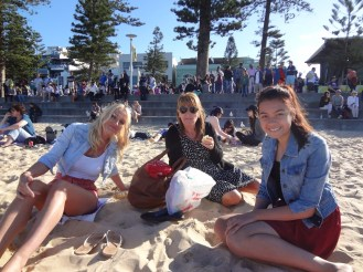 On the beach at Manly (Not as warm as it looks!)