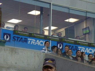 The coaches and technical staff in their box.