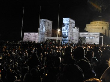 Pictures projected onto the War Memorial itself.