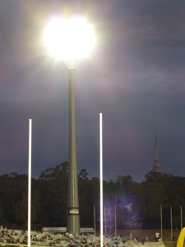 Goal posts, floodlights and the Telstra Tower