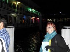 Barbara waiting to board the boat.