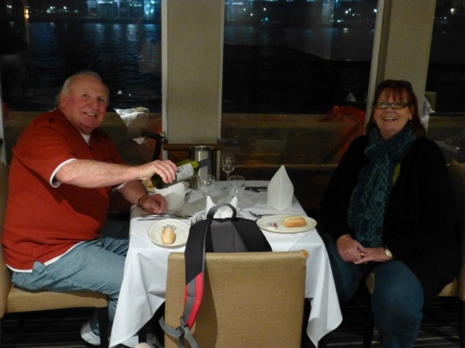 Barbara & Lawrence sat at our table on the boat.