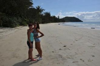 Gail and Ciara posing on the beach at Myall