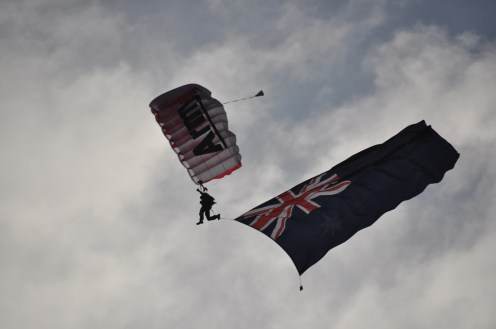 One of the Red Berets comes in to land.