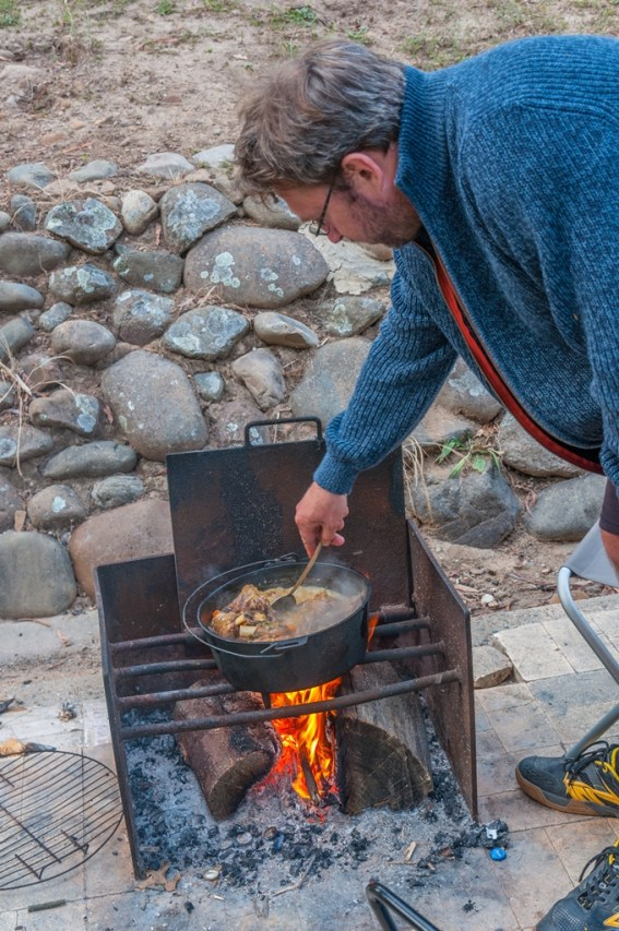 Patrick at work on his pot stew.