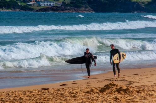 Surfers on Aslings Beach