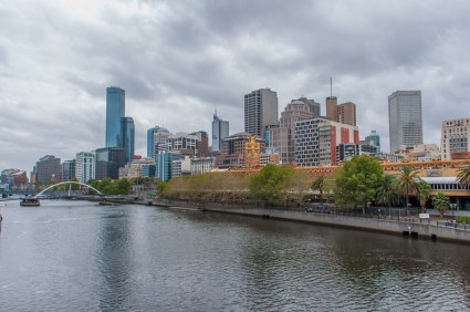 Melbourne CBD from the bridge over the Yarra River.