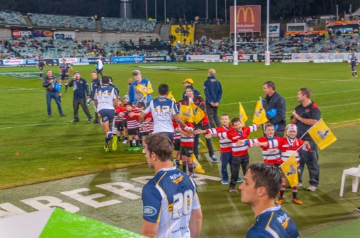 The Brumbies enter the field of play.
