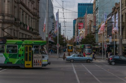 Downtown shopping street in Melbourne CBD