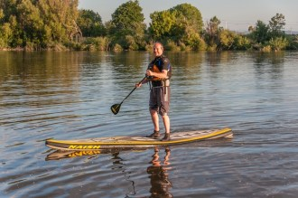 Andrew has a go on the SUP
