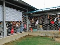 Penumpang berdesakan menunggu feri yang akan membawa mereka ke Tanjungbalai Karimun