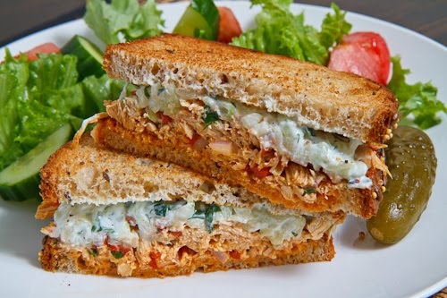 Souvlaki Chicken Salad Sandwich with Roasted Red Peppers and Feta with Salad 500