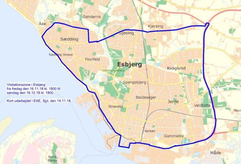 Politiet forlænger visitationszonen i Esbjerg i yderligere en måned