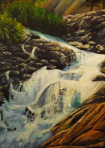 Original oil landscape painting of a Colorado mountain waterfall