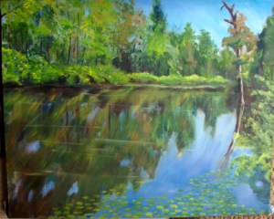 oil painting of a bayou and water lilies in East Texas