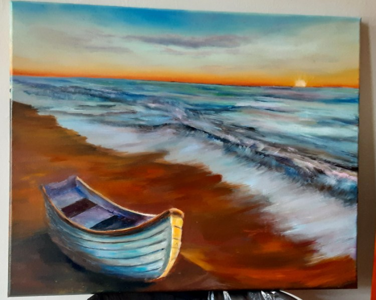 a rowboat at sunset, oil painting by Yeshuas Child art