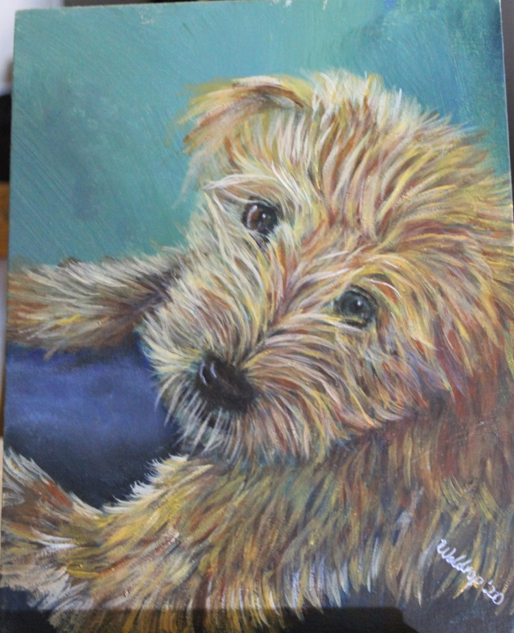 acrylic dog portrait of a Goldendoodle puppy