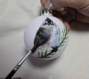 Tufted titmouse hand-painted bird ornament