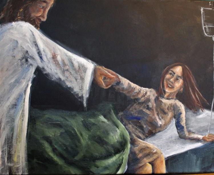 Jesus healing a woman acrylic painting