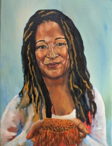 prophetic portrait in acrylic of an individual holding honey