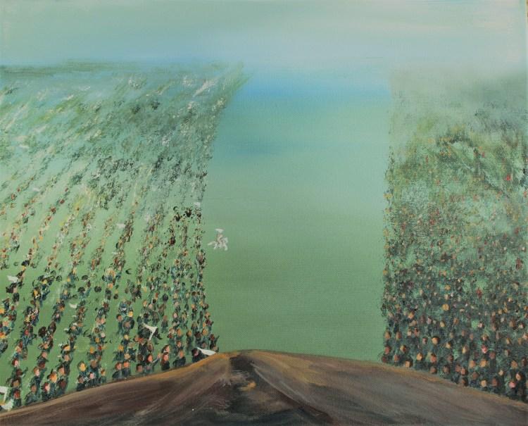 acrylic painting of the Last Battle (Christian prophetic art).