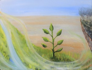 Wind of Holy Spirit across the land, acrylic painting