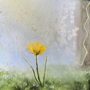 acrylic prophetic painting of a buttercup with glittering rain falling down to represent revival