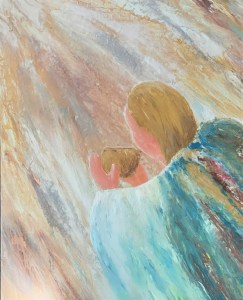acrylic painting of an angel carrying a golden bowl filled with incense representing prayer