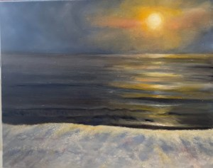 oil painting landscape of Lake Huron in the winter, with snow in the forefront