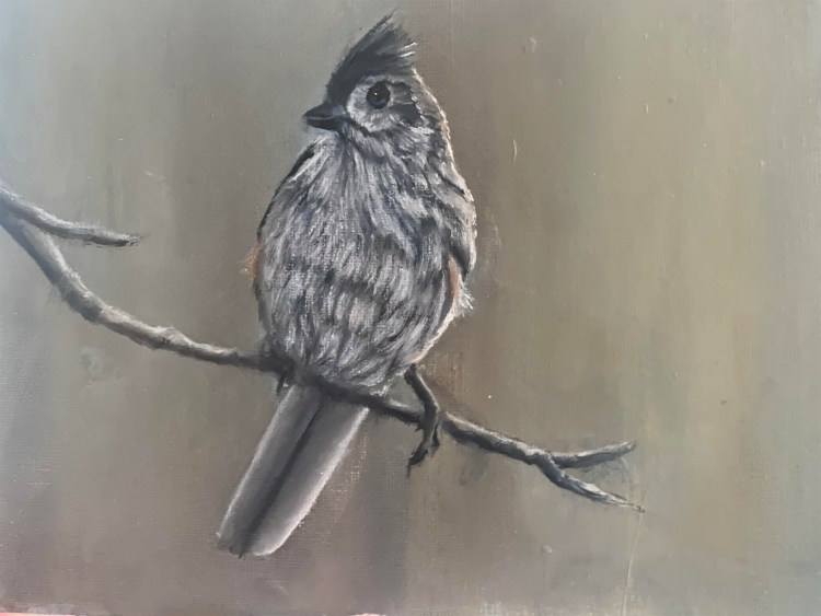 acrylic painting of a tufted titmouse on a branch