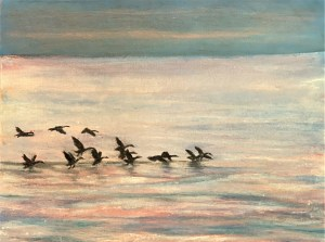 Geese flying on Lake Huron, Michigan acrylic oil painting