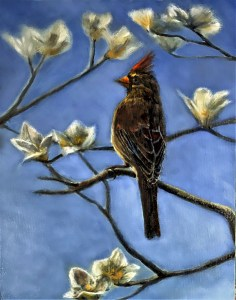 acrylic and oil painting of a female cardinal by Yeshuas Child Art