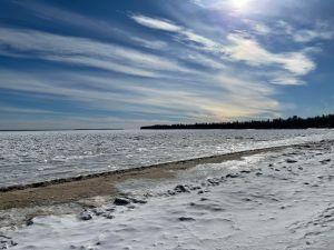 Lake Huron frozen in the winter