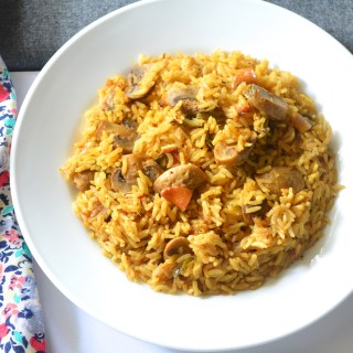 Restaurant style Veganized Mushroom Biriyani with 'Homemade Biriyani masala'