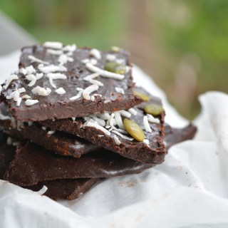 5 ingredients Pepita Seeds & Coconut Raw Chocolate Bark