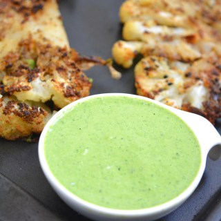 Roasted Cauliflower with Spinach Tahini Sauce