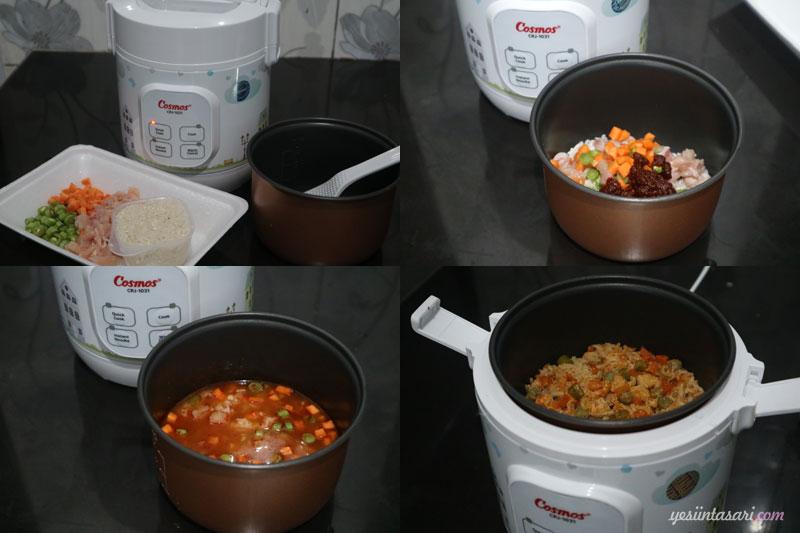 cara memasak nasi goreng di rice cooker