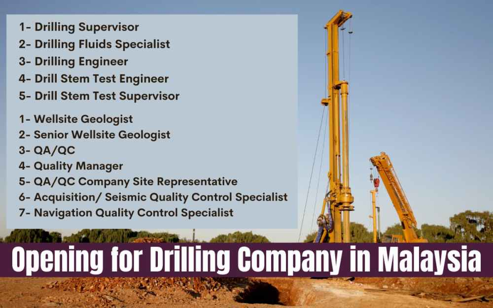 Opening for Drilling Company in Malaysia: Drilling, Manager & More