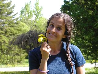 lakshmi enjoying the dandelions