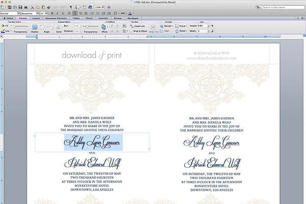 Free Wedding Invitation Template Type Details