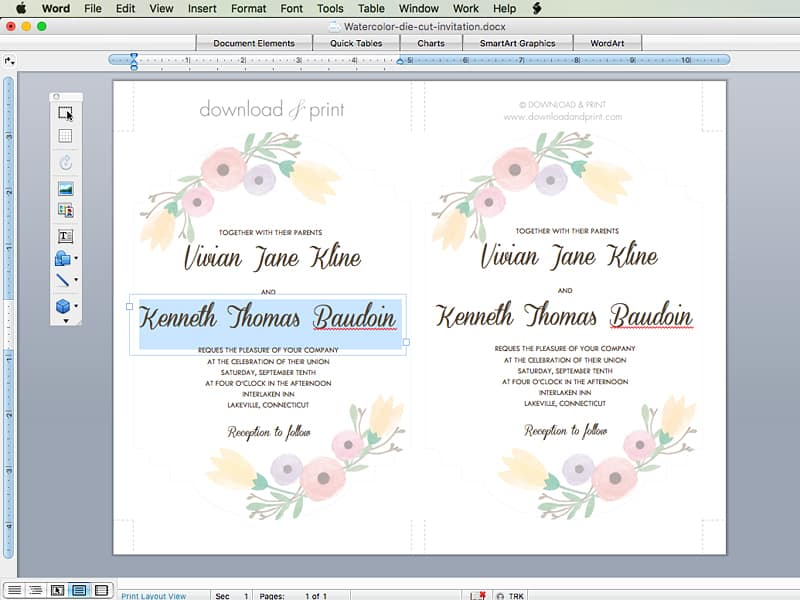 Step By Instructions For Diy Wedding Invitation Pretty Watercolor Flower Free