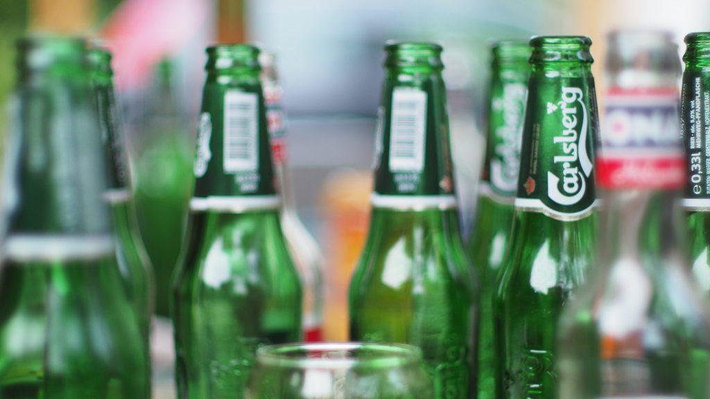 Green Carlsberg bottles