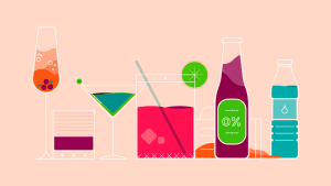 Graphic illustration of alcoholic work-drinks