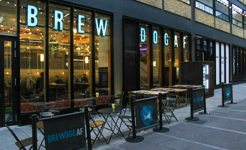 Outside BrewDog Alcohol Free bar in Shoreditch, East London