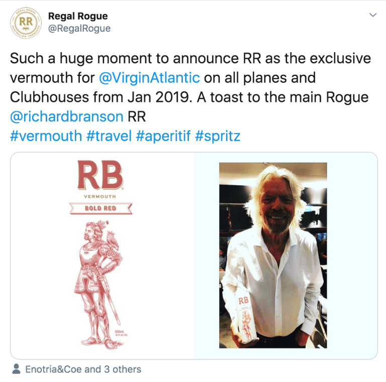 Social Media Content of Regal Rogue Vermouth on board Virgin Atlantic flights and club houses by YesMore Off Trade Marketing Agency 1